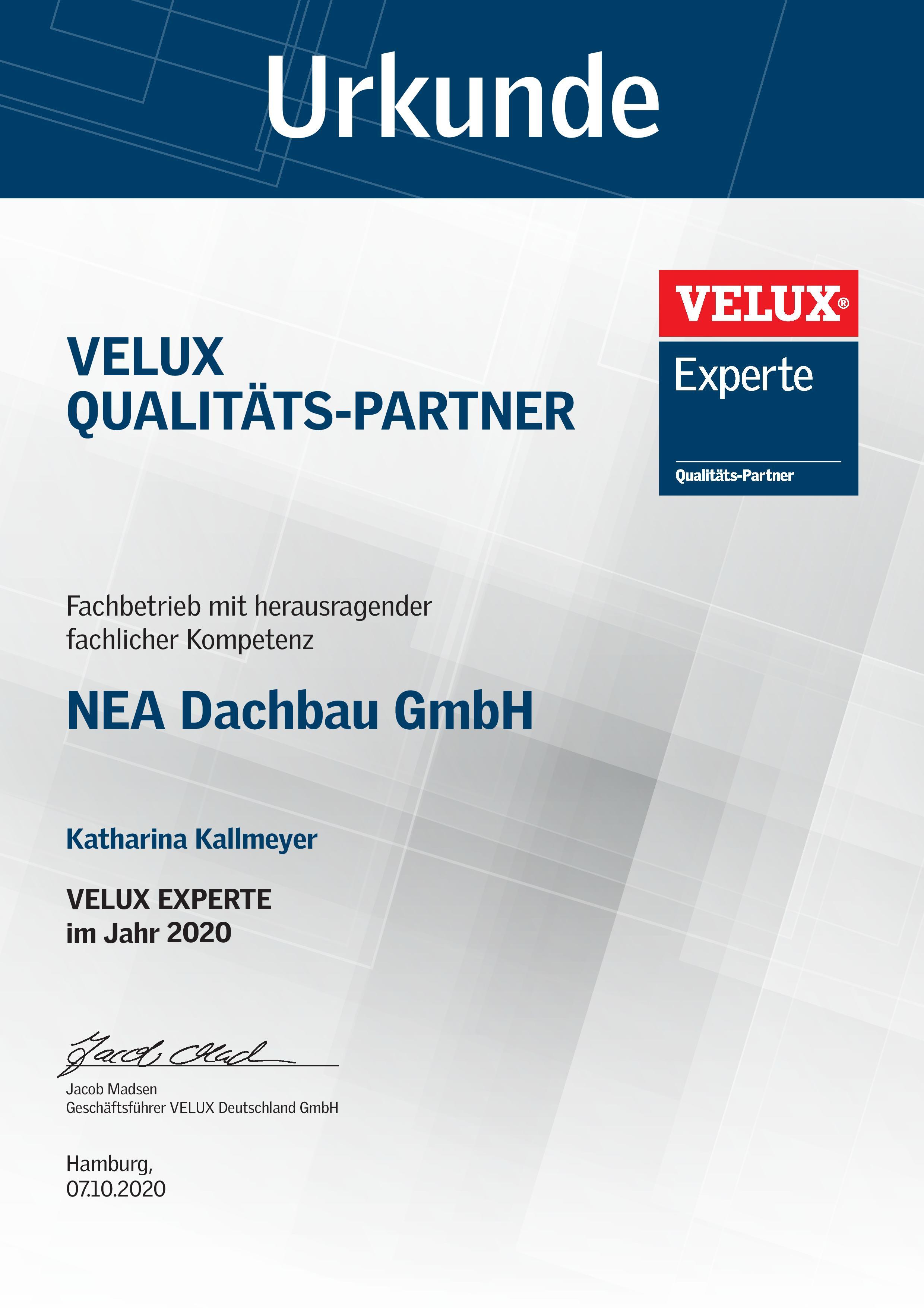 VELUX Experte Urkunde